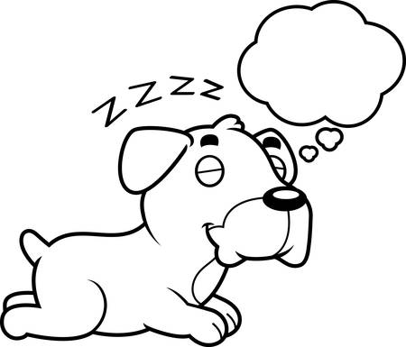 boxer dog: A cartoon illustration of a Boxer dog sleeping and dreaming. Illustration