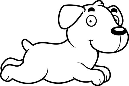실행중인 래브라도 리트리버의 만화 그림입니다.