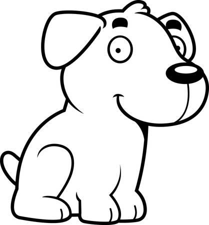 labrador: A cartoon illustration of a Labrador Retriever sitting. Illustration