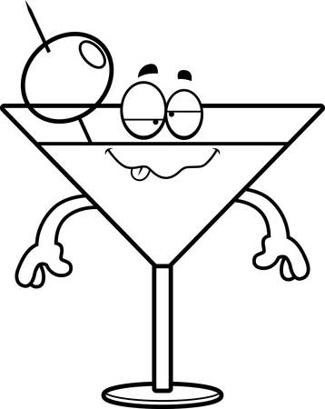 A cartoon illustration of a martini looking drunk.