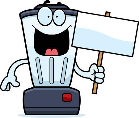 A cartoon illustration of a blender holding a sign.