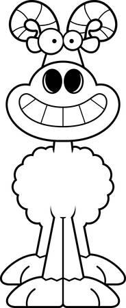 rams horns: A cartoon illustration of a ram looking happy. Illustration