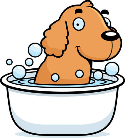 A cartoon illustration of a Cocker Spaniel taking a bath. Illustration