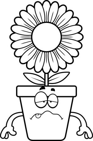 A cartoon illustration of a flowerpot looking sick.
