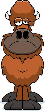 A cartoon illustration of a buffalo looking sad.