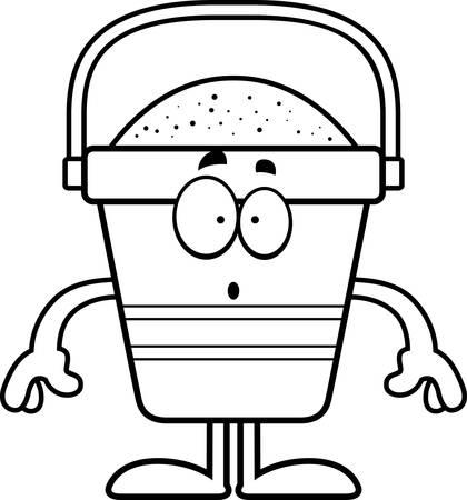 beach bucket: A cartoon illustration of a beach bucket looking surprised. Illustration