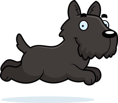 A cartoon illustration of a Scottie running.