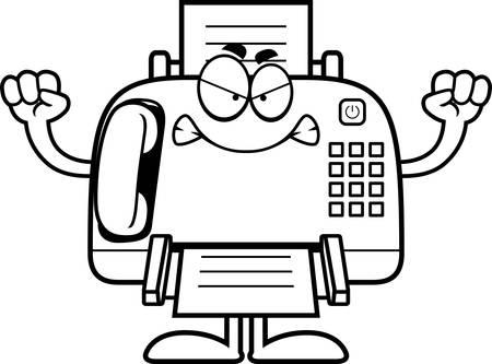 Eine Karikaturillustration ein Faxgerät suchen wütend. Standard-Bild - 44743453