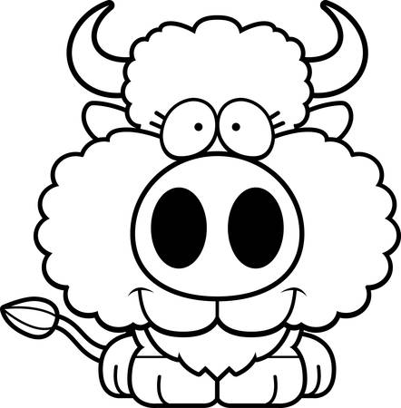 A cartoon illustration of a buffalo happy and smiling.