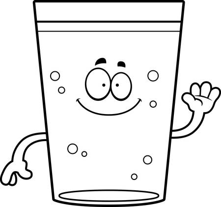 A cartoon illustration of a glass of beer waving.