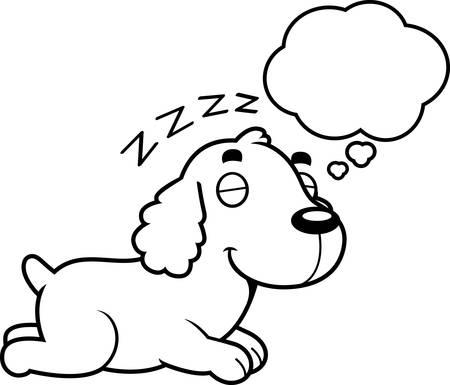 cocker: A cartoon illustration of a Cocker Spaniel sleeping and dreaming. Illustration