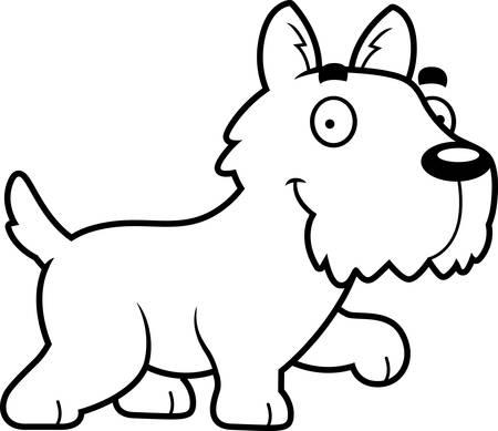 A cartoon illustration of a Scottie walking.