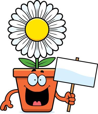 A cartoon illustration of a flowerpot holding a sign. Illustration