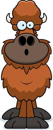 A cartoon illustration of a buffalo looking surprised.