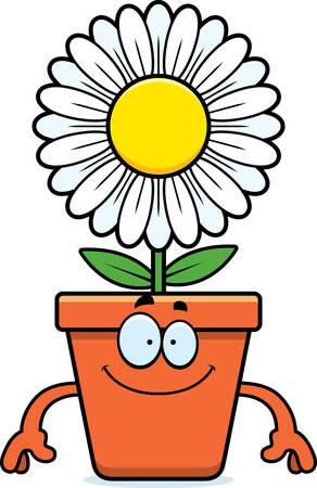 flowerpot: A cartoon illustration of a flowerpot looking happy.