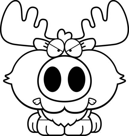 growl: A cartoon illustration of a moose with an angry expression.