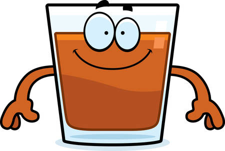 alcoholic beverage: A cartoon illustration of a shot of whiskey looking happy. Illustration