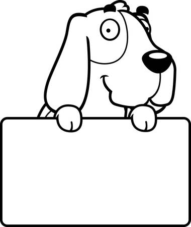 basset hound: A cartoon illustration of a Basset Hound with a sign.