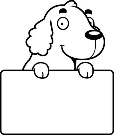 cocker: A cartoon illustration of a Cocker Spaniel with a sign.