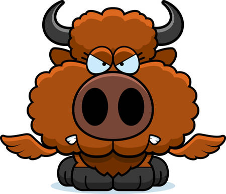 growl: A cartoon illustration of a winged buffalo with an angry expression. Illustration