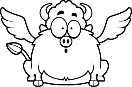 A cartoon illustration of a buffalo with wings looking surprised.