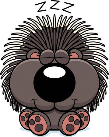 A cartoon illustration of a porcupine taking a nap. Illustration