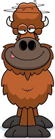 A cartoon illustration of a buffalo looking drunk.
