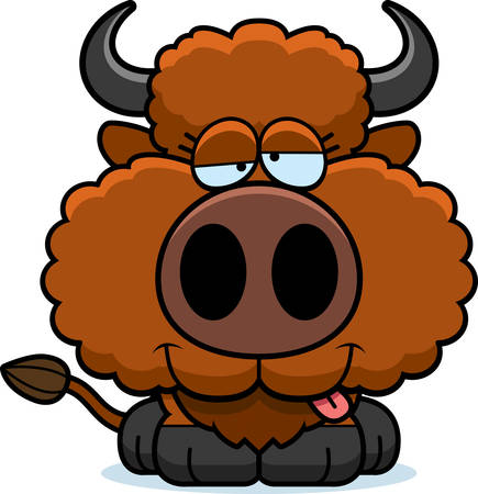 goofy: A cartoon illustration of a buffalo with a goofy expression. Illustration