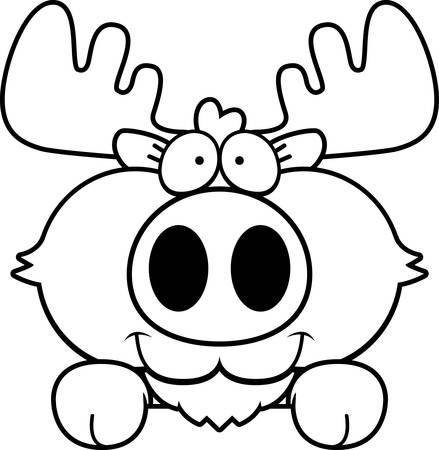 A cartoon illustration of a moose peeking over an object.