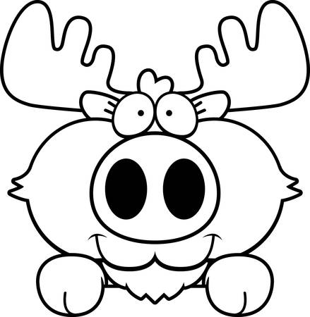 peering: A cartoon illustration of a moose peeking over an object.