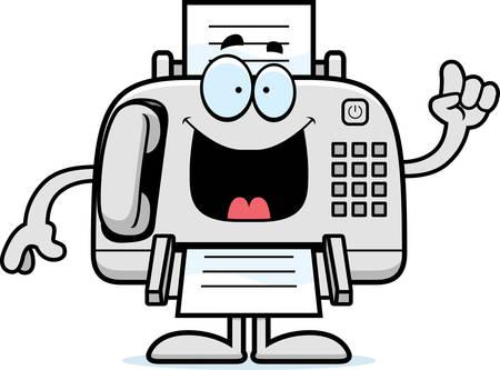Eine Karikaturillustration ein Faxgerät mit einer Idee. Standard-Bild - 44743304