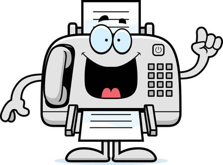 A cartoon illustration of a fax machine with an idea.