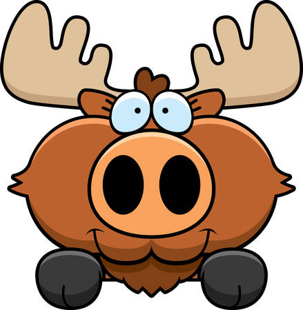 peeking: A cartoon illustration of a moose peeking over an object.