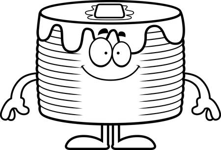 A cartoon illustration of a stack of pancakes looking happy.