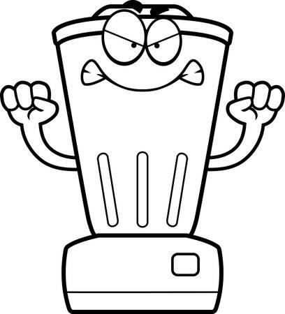 liquidiser: A cartoon illustration of a blender looking angry.