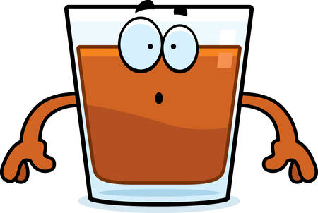 shots alcohol: A cartoon illustration of a shot of whiskey looking surprised. Illustration