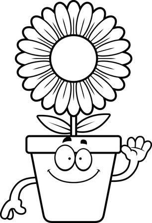 flowerpot: A cartoon illustration of a flowerpot waving.