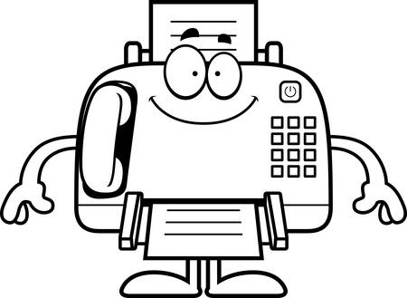 fax machine: A cartoon illustration of a fax machine looking happy.
