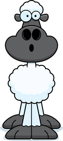 astonish: A cartoon illustration of a sheep looking surprised. Illustration