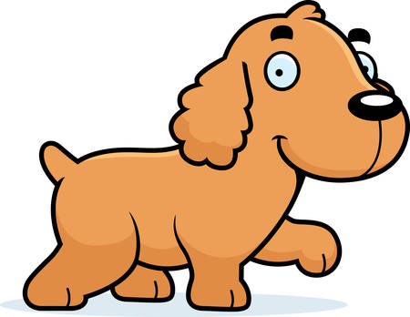 A cartoon illustration of a Cocker Spaniel walking. Illustration
