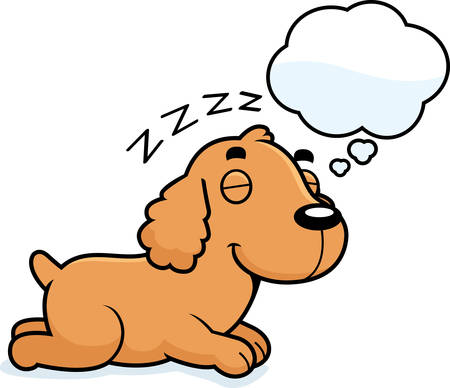 A cartoon illustration of a Cocker Spaniel sleeping and dreaming. Illustration