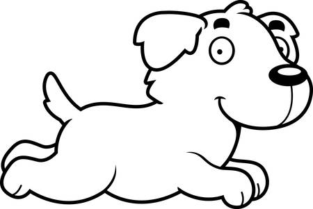 golden retriever puppy: A cartoon illustration of a Golden Retriever running. Illustration