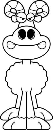 rams horns: A cartoon illustration of a ram looking angry.