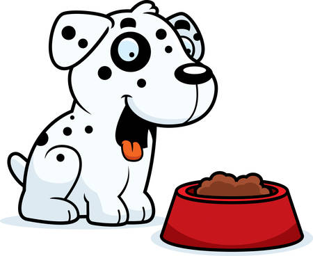dalmatian puppy: A cartoon illustration of a Dalmatian with a bowl of food. Illustration