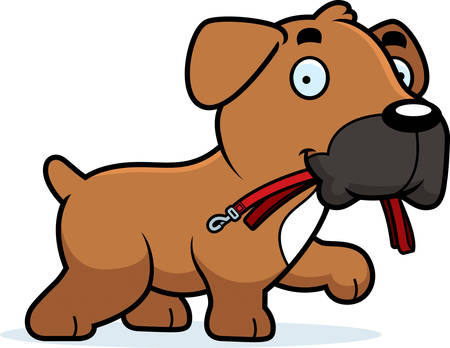 A cartoon illustration of a Boxer dog walking with a leash in his mouth.