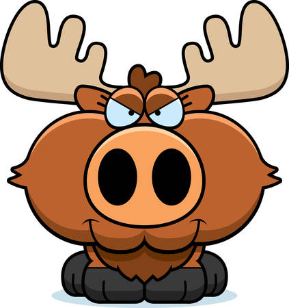 sly: A cartoon illustration of a moose with a sly expression. Illustration