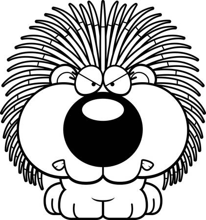 porcupine: A cartoon illustration of a porcupine with an angry expression.