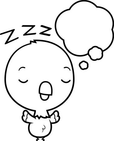 though: A cartoon illustration of a baby parrot dreaming.