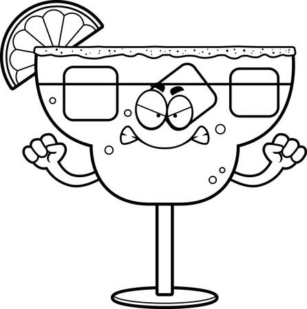 A cartoon illustration of a margarita looking angry.