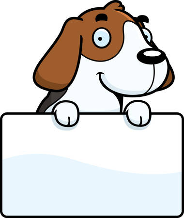 beagle puppy: A cartoon illustration of a Beagle with a sign. Illustration